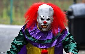 happy birthday creepy clown scary fear of clowns due to lack of expression makeup says open