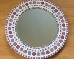 Mosaic Bathroom Mirrors by Round Mosaic Mirror Pink And White Jeweled Wall Art Nursery