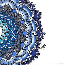themed artwork gorgeous blue themed mandala created by henna by abby with their
