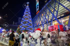 Snoopy Decorating Christmas Tree by Bangkok Thailand November 30 2014 Big Christmas Tree And