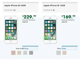 cricket wireless black friday cricket wireless iphone se 64 gb 229 all colors iphone se 16