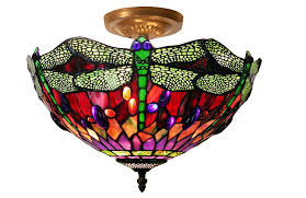 tiffany style ceiling fan glass shades tiffany style dragonfly ceiling l table ls amazon com