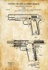 Browning Wall Decor Colt 1911 Firearm Patent Patent Print Wall Decor Gun Art