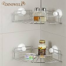 Bathroom Suction Shelves Diniwell Home Storage Fan Shaped Bathroom Suction Corner Rack With
