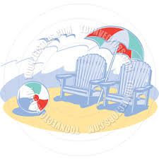 Clip On Umbrellas For Beach Chairs Cartoon Beach Chairs Umbrella And Ball Vector Illustration By