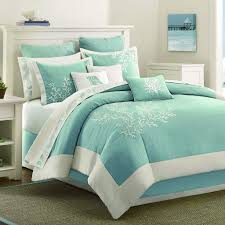 light blue teal coral pattern bed comforter with beach theme