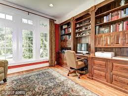 traditional home office with built in bookshelf u0026 crown molding in