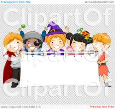 halloween artwork free clipart halloween kids holding a blank banner royalty free