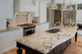 Two Tone Kitchen by Kitchen Superwhite Granite Countertop With Industrial Pendant
