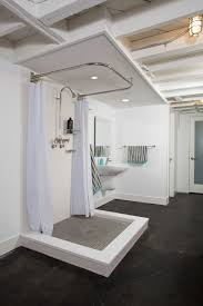 corner shower curtain rod bathroom industrial with concrete floor