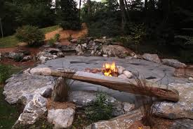 indian run landscaping natural flagstone patio with fire pit