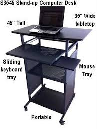Computer Desk Stand 35 Inch Wide Stand Up Computer Desk Portable Black 100 Steel