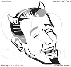 halloween images black and white man wearing horns and a goatee laughing devilishly on halloween