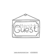 hanging board word guest vector sketch stock vector 433159231