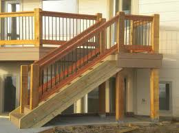 building deck stair railing with wooden walls stairs design