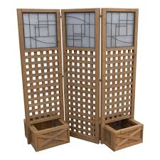 yardistry 62 in cedar privacy screen with planters ym11615 the