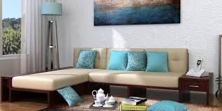 Wooden Sofa Sets Online  Buy Solid Wood Sofa Set Upto  OFF - Indian furniture designs for living room