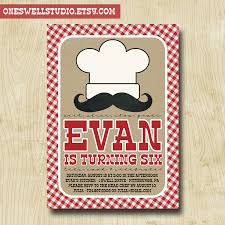 Printable Birthday Party Invitation Cards Little Chef Cooking Baking Party Diy Printable Birthday Party