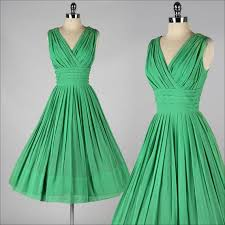 vintage 1950s party dress emerald green crepe chiffon v neck a