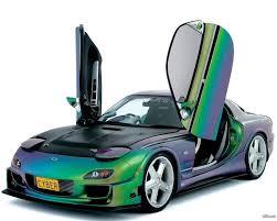 mazda rx 7 license plate cyber motor sports green purple blue