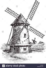 windmill hand drawn vintage sketch vector illustration stock