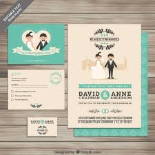 collection of wedding invitations vector free download