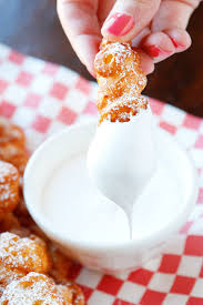 omg these are funnel cake fries with marshmallow fluff dip so