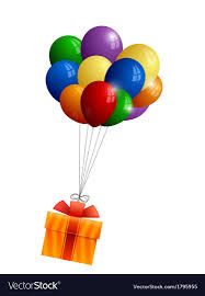 balloons gift bunch of balloons and gift royalty free vector image