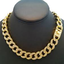 link choker necklace images Wg hip hop quavo full iced out 24 quot gold tone miami cuban link jpeg