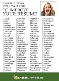 Power Verbs For Your Resume English Grammar Powerful Verbs For Your Resume More Resume