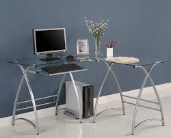 Office Desk With Glass Top Modern L Shaped Desk