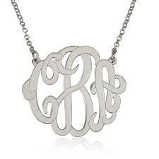 sterling silver monogram necklace pendant personalized silver monogram necklace 1 2 bestmonogramnecklace