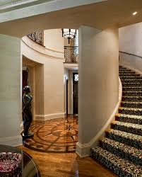 floor medallions staircase traditional with curved staircase