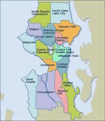 seattle map by district seattle neighborhood map seattle mappery