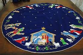 bucilla nativity felt tree skirt kit 82720 blue sequin
