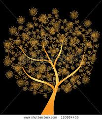 abstract golden tree symbol nature stock vector 110884436