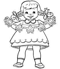 a little with decorations for christmas coloring page
