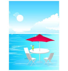 Beach Umbrella And Chairs A Beach With An Umbrella And Chairs Royalty Free Vector