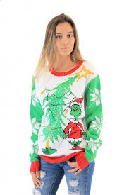 grinch christmas sweater women s dr seuss grinch as santa next to tree white sweater