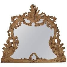 large antique stripped walnut wood rococo style mirror for sale at