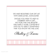 Gift Card Bridal Shower Bridal Shower Gift Registry List Wedding Invitation Sample
