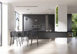 kitchen black and white kitchen features black island with raised