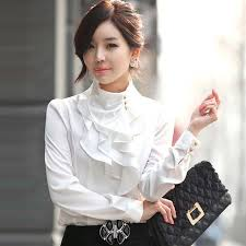 high neck ruffle blouse ruffle collar shirt puff sleeve silky