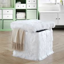 faux fur ottoman with storage faux fur collapsible storage ottoman free shipping on orders over