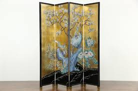 chinese room divider sold chinese 4 panel gold leaf coromandel carved lacquer vintage