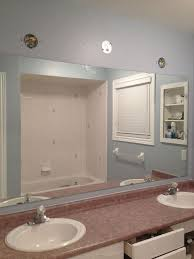 Large Bathroom Mirror Ideas Large Bathroom Mirror Redo To Double Framed Mirrors And Cabinet