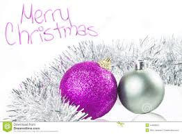 card with ornaments silver and purple stock image