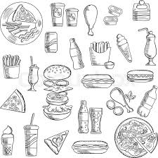 fast food snacks and takeaway drinks icons including pizza burger