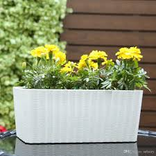 self water planter rectangle shaped paint coating self watering window planter