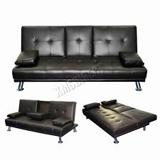 brown faux leather sofa 2 3 seater settee click clack double couch